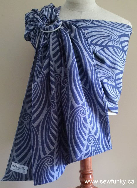 Sewfunky Woven Ring Sling Blue Waves