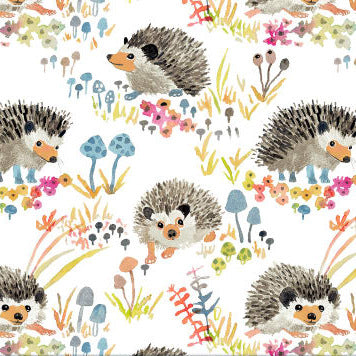 Sewfunky Pixie Dress - Hedgehog Garden in White