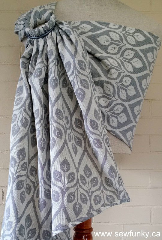 Sewfunky Woven Ring Sling Grey Leaves