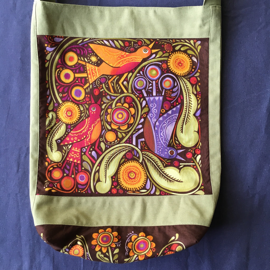 Sewfunky Hemp Folk Birds Bag