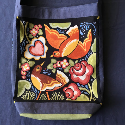 Sewfunky Hemp Folk Love Birds Bag