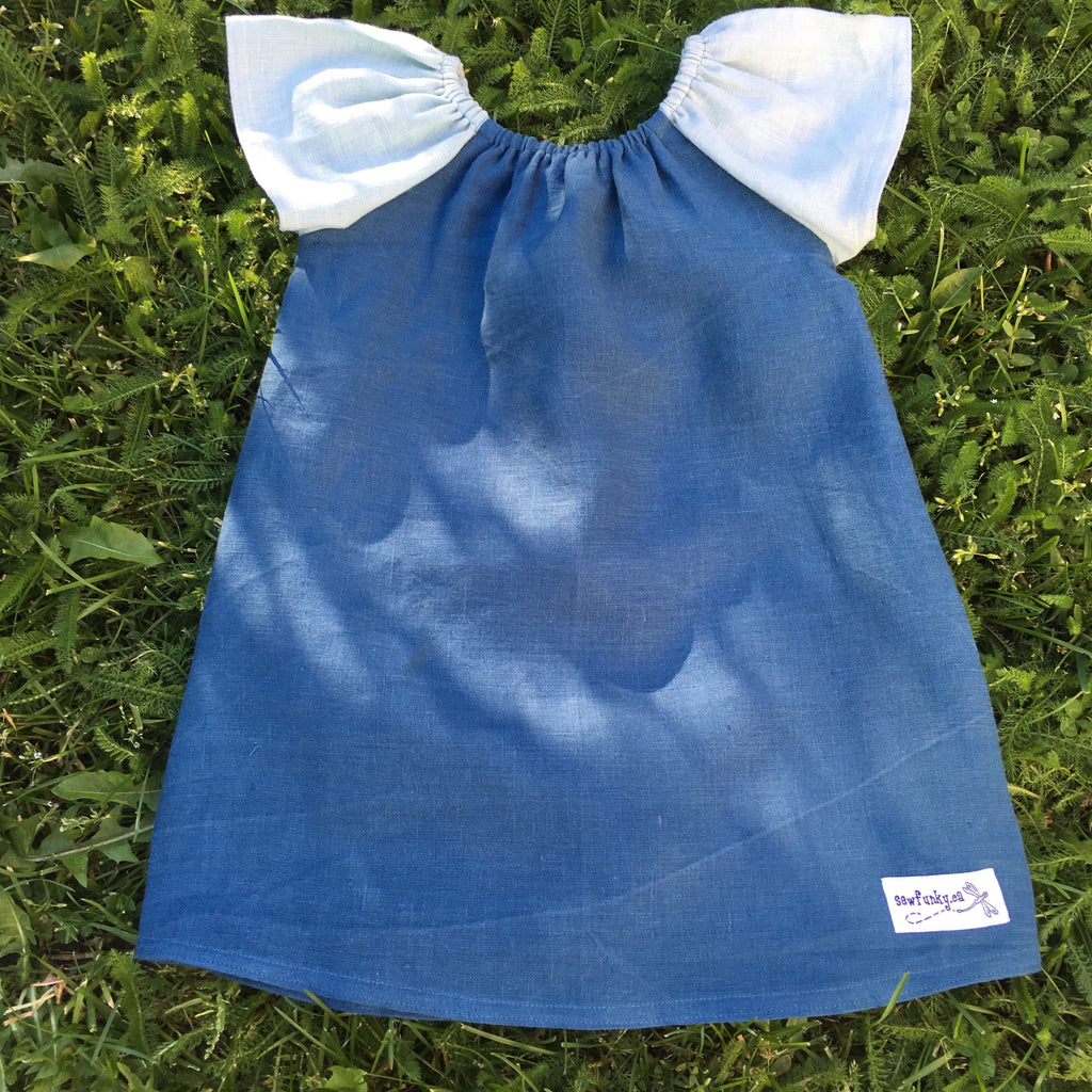 Sewfunky Pixie Dress Bluejay Linen
