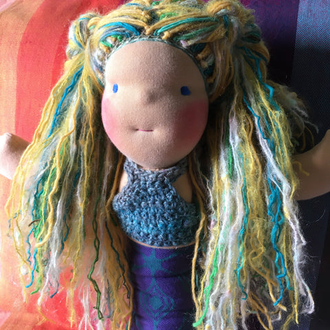 Sewfunky Waldorf Inspired Natural Mermaid Doll Ready to Ship
