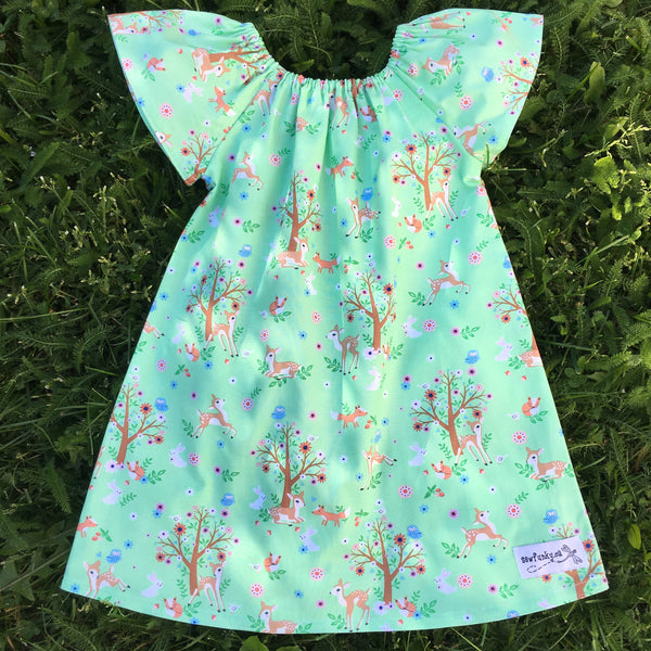 Sewfunky Pixie Dress - Green Forest