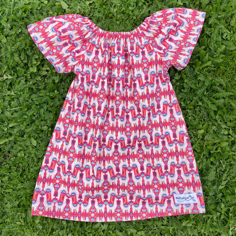 Sewfunky Pixie Dress - Pink Llamas