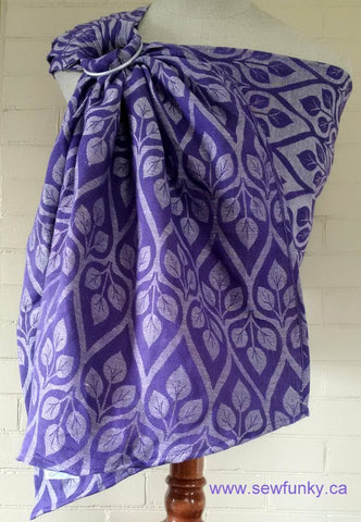 Sewfunky Woven Ring Sling Violet leaves