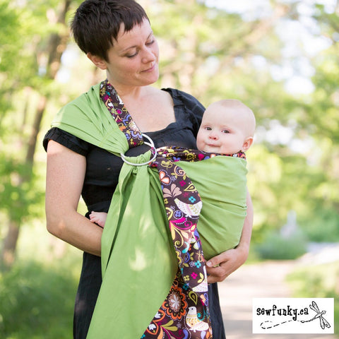 Sewfunky Designer Baby Sling Birds of Norway on Avocado #SF014