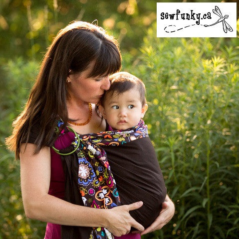 Sewfunky Designer Baby Sling Birds of Norway on Espresso #SF010