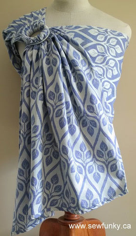 Sewfunky Woven Ring Sling Blue Leaves