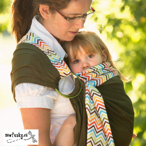 Sewfunky Designer Baby Sling Chevron on Olive Green #SF032