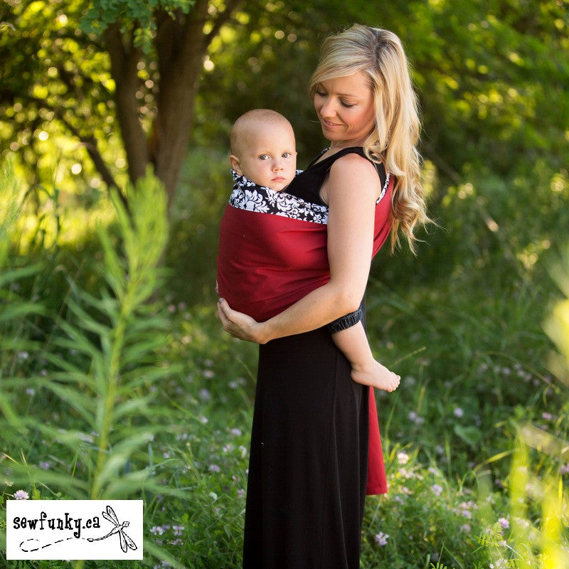 Sewfunky Designer Baby Sling Dandy Damask on Flame Red #SF004