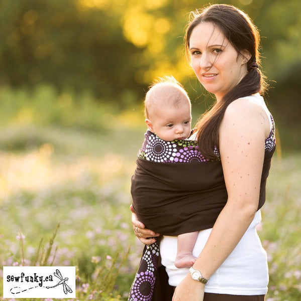Sewfunky Designer Baby Sling Disco Dot on Espresso #SF033