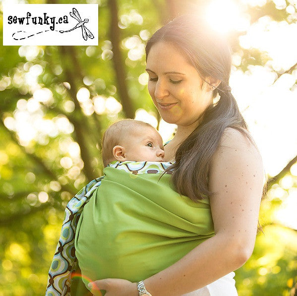 Sewfunky Designer Baby Sling Groovy Green on Avocado #SF017