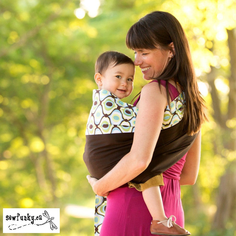 Sewfunky Designer Baby Sling Groovy Green on Espresso #SF026