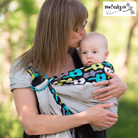 Sewfunky Designer Baby Sling Groovy Guitar on Grey #SF009