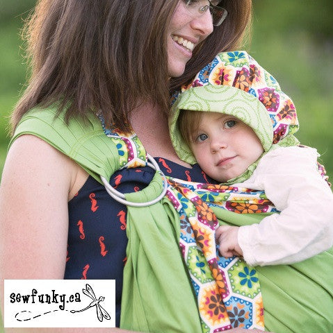 Sewfunky Designer Organic Baby Sling Kaleidoscope on Avocado SOLD OUT
