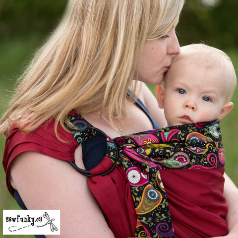 Sewfunky Designer Organic Baby Sling Nightgarden on Flame Red - SOLD OUT