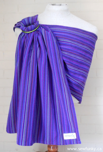 Sewfunky Woven Ring Sling Purple Stripes