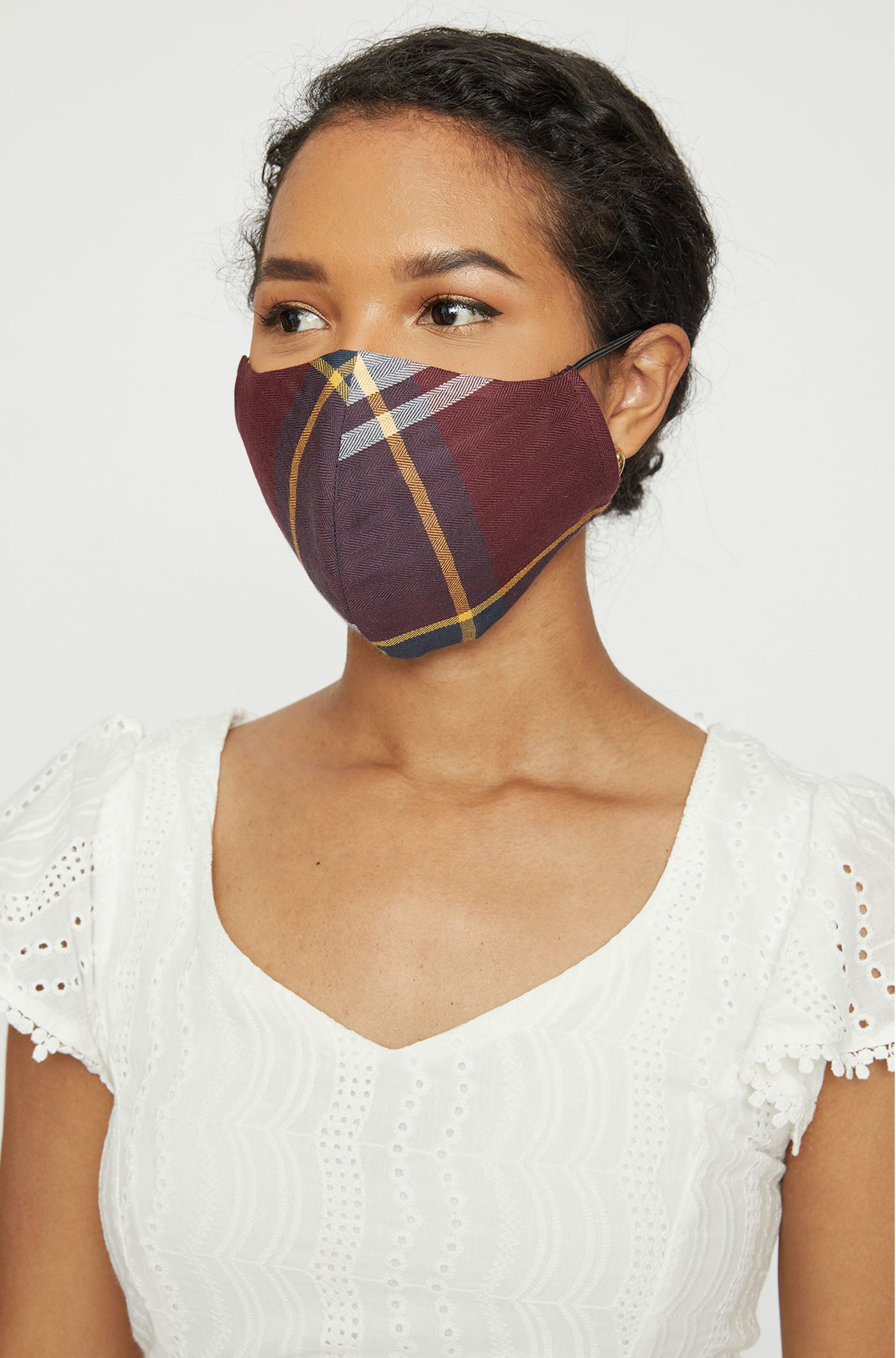 Set of 3 Burgundy Plaid Adult Face Mask