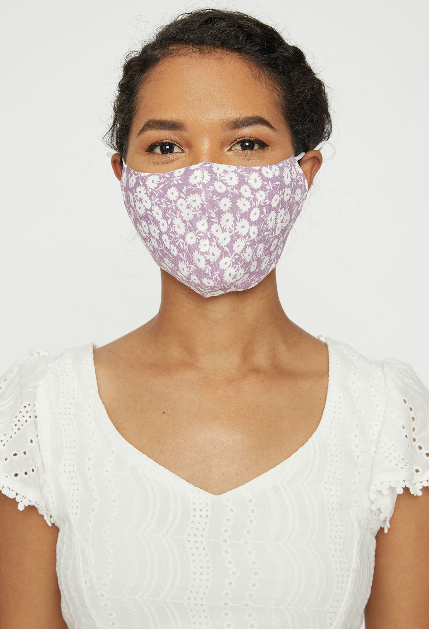 Set of 3 Purple Floral Adult Face Mask