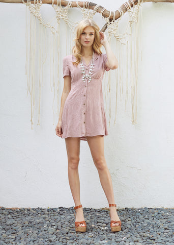 Rosé Button Dress