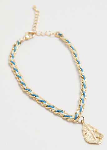 GOLDEN LEAF BRACELET // BLUE POPPY