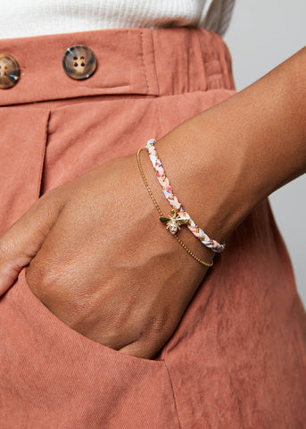 BEE GOLD DUO BRACELET // COTTON CANDY