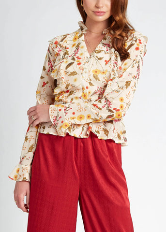 Golden Dreams Ruffle Top