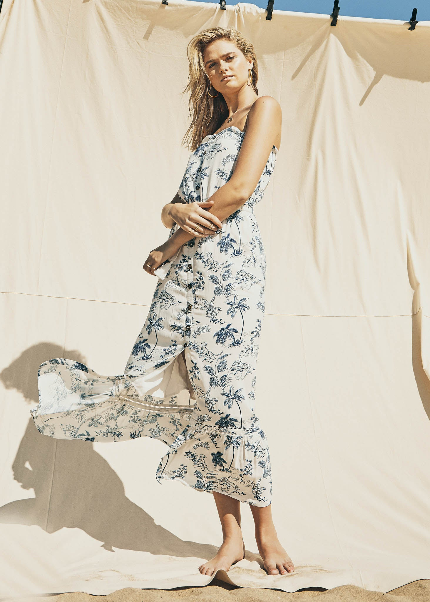 Blue Palm Nights Maxi Dress