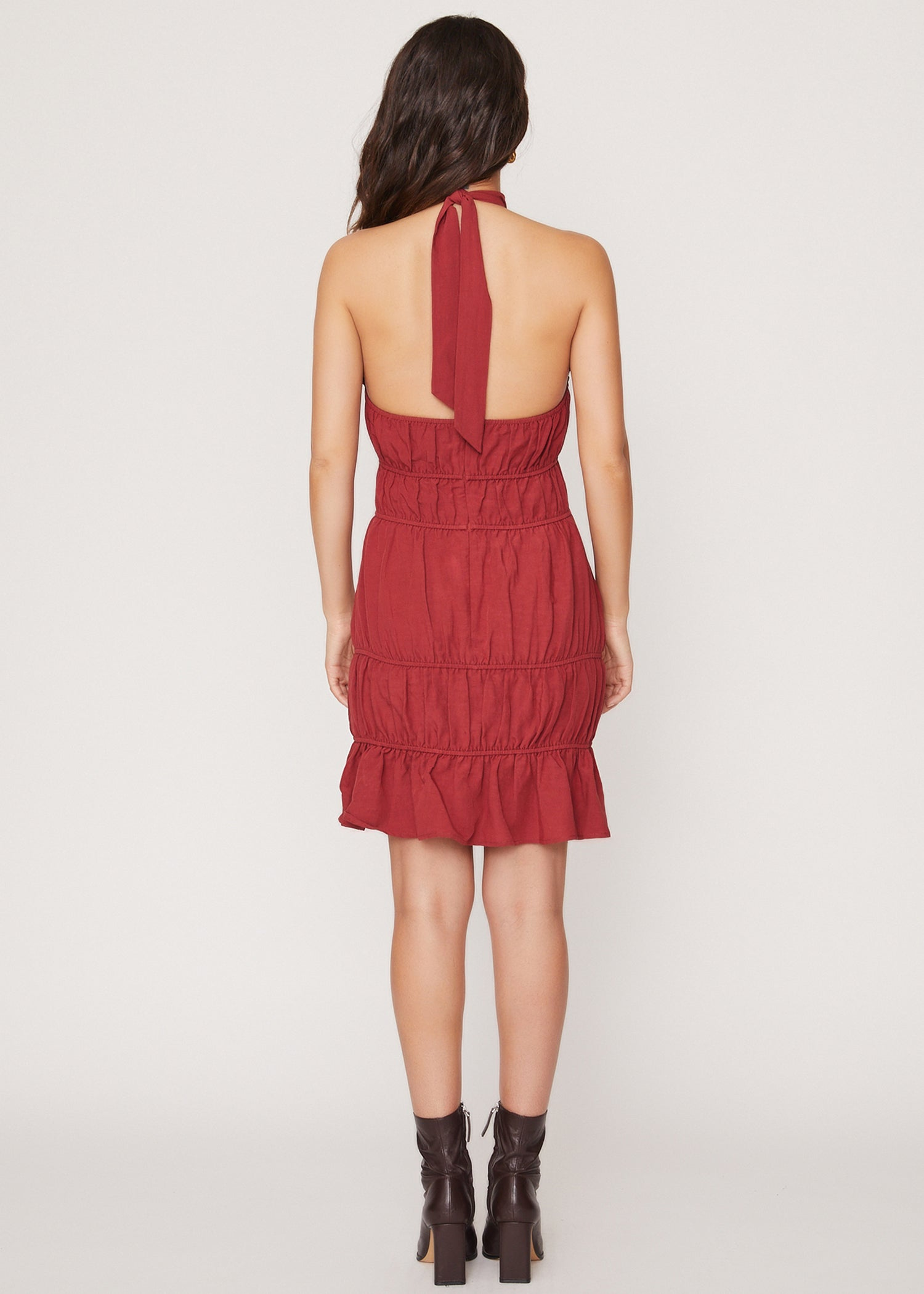 Brunch in Bordeaux Mini Dress