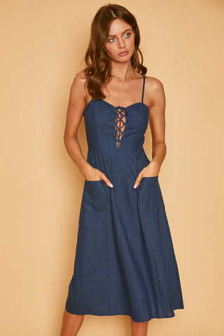 Blue Palm Nights Mini Dress
