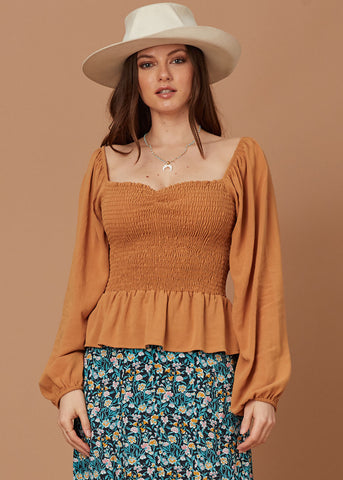 Terracotta Ruffle Top