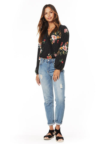 Downtown Floral Wrap Top