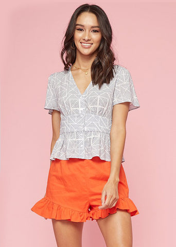 Alma Button Top