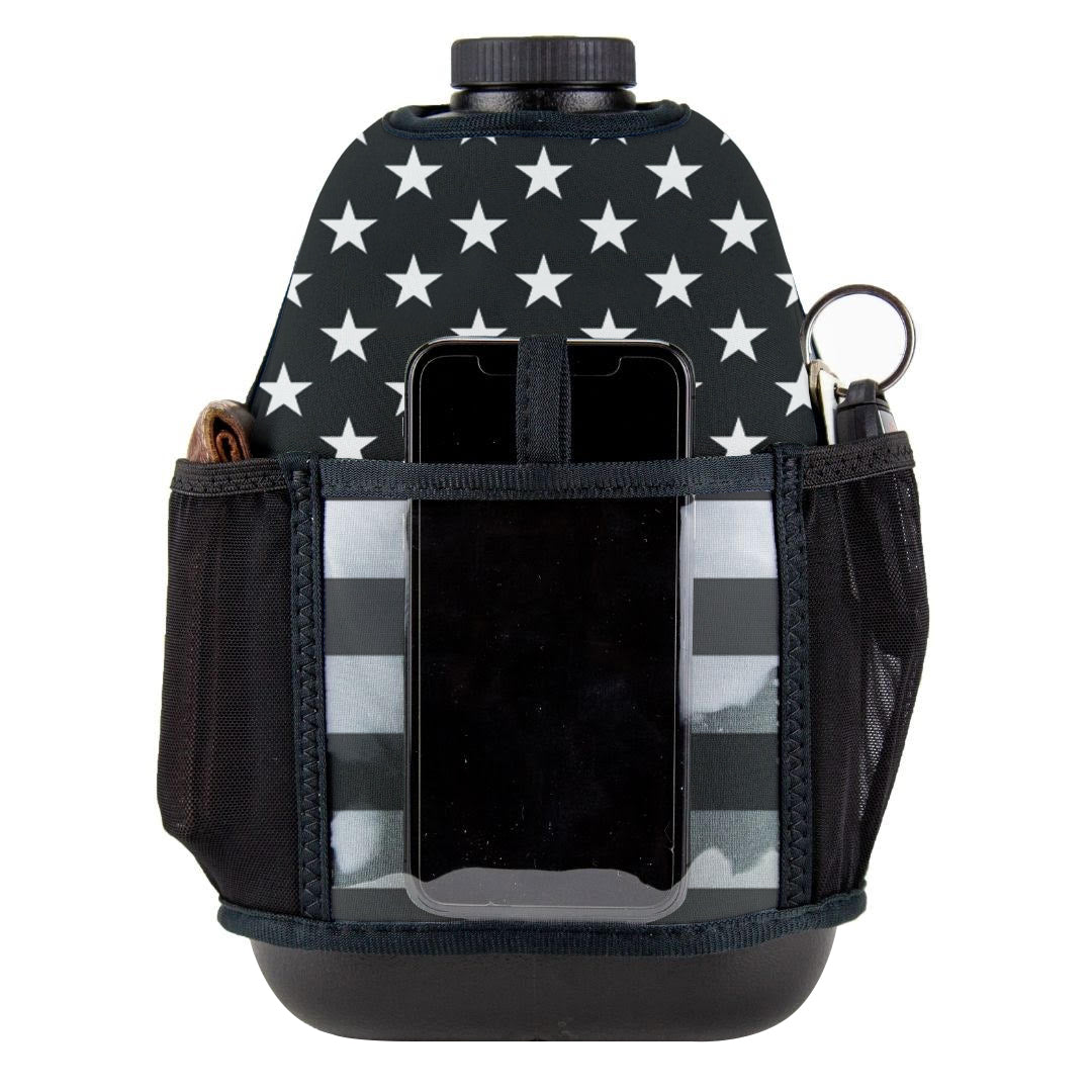 American Black and Grey Flag Double Pocket Gallon Gear Fitness Hydration Cover