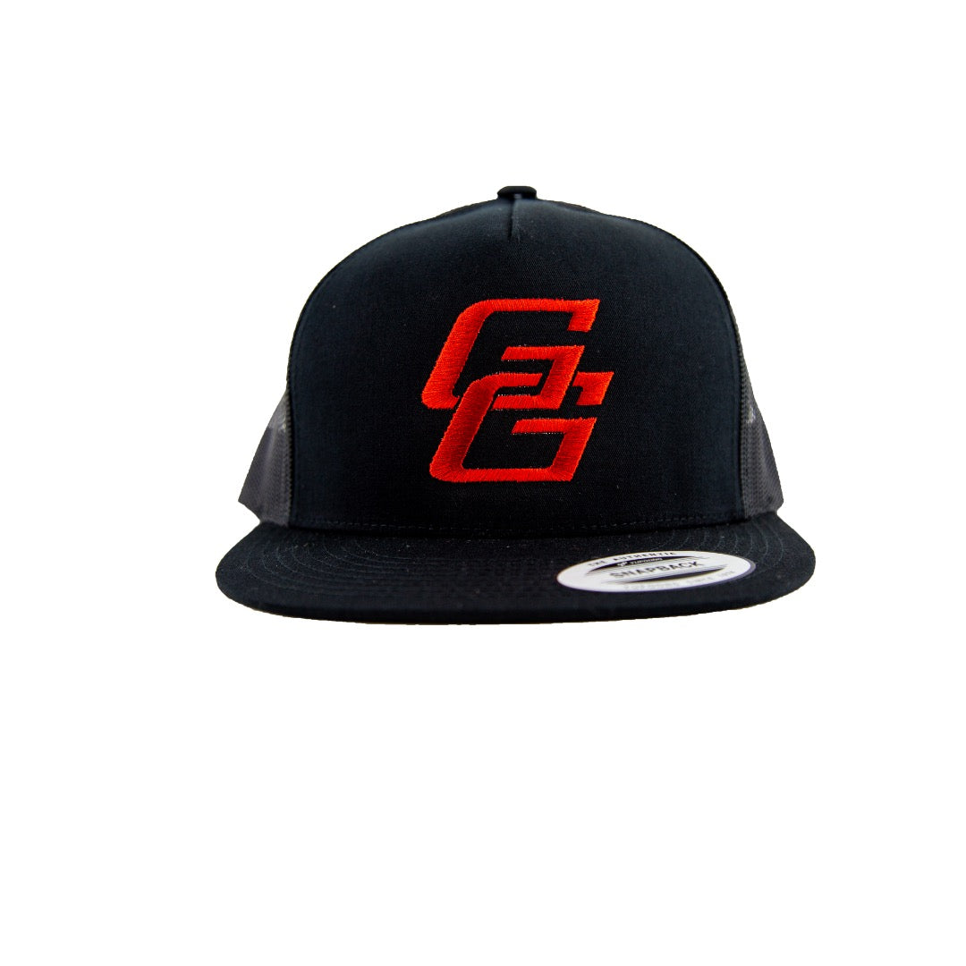 Black/ Black Mesh with Red Logo