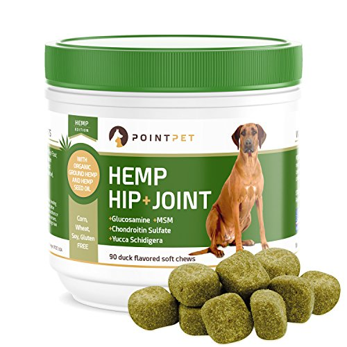PointPet Advanced Hip and Joint Supplement for Dogs with Organic Hemp Seeds and Oil, Best Glucosamine Chondroitin, MSM, Omega 3-6, Improves Mobility, Reduces Pain and Inflammation, 90 Soft Chews - Monday Monday