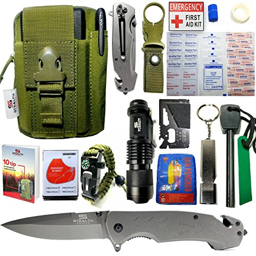 EMERGENCY SURVIVAL KIT 42 in 1 MILITARY POUCH, TACTICAL POCKET KNIFE, FIRE STARTER, BLANKETS, COMPASS BRACELET, FIRST AID KIT, WHISTLE, CAMPING, HIKING, HUNTING, PREMIUM OUTDOOR GEAR w/ BONUS E-BOOK - Monday Monday