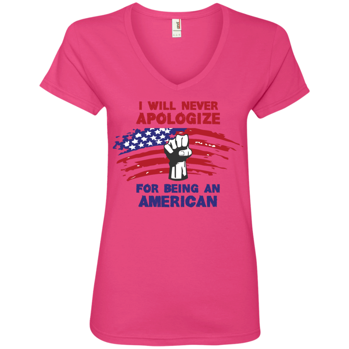 Never Apologize American - Ladies' V-Neck Tee - Monday Monday