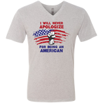 Never Apologize American - Men's Triblend V-Neck Tee - Monday Monday