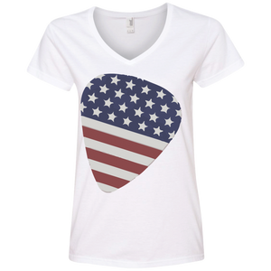 American Guitar Pick - Ladies' V-Neck Tee - Monday Monday