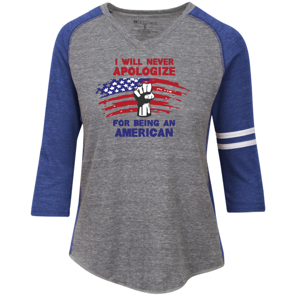 Never Apologize American - Ladies' Vintage V-neck Shirt - Monday Monday