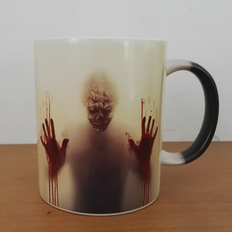 Newest design The walking dead coffee mugs heat Color changing tea cup Magic Mug gift  zombie head double sides printing - Monday Monday