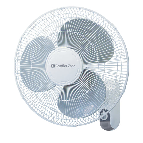 "16"" 3-Speed Oscillating Wall-Mount Fan, White"