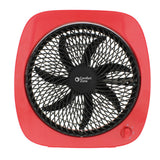 "10"" 3-Speed Square Turbo Desk Fan, Red"