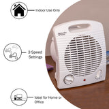 Fan-Forced Portable Heater w/Thermostat, White
