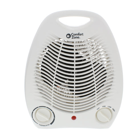 Fan-Forced Electric Portable Heater w/Thermostat, White