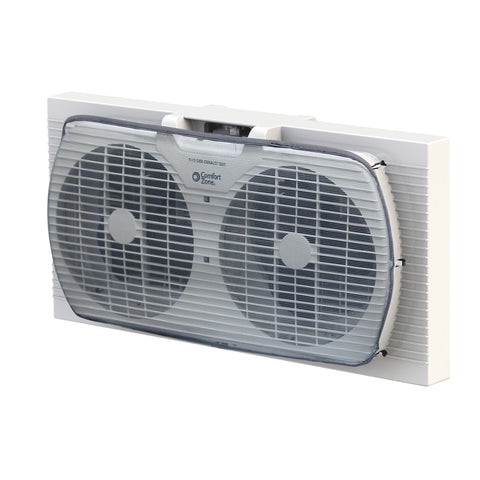 "9"" 2-Speed Twin Window Fan w/Manual Reversible Airflow Control, White"