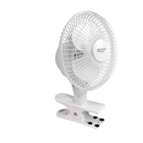 "6"" 2-Speed Clip Fan with Base, White"