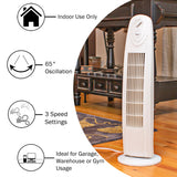 "29"" 3-Speed Oscillating Tower Fan, White"